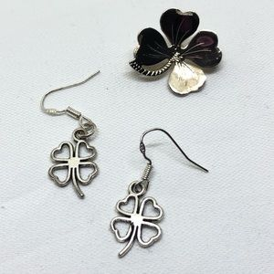 🆕Vintage 4-Leaf Clover Earrings And Scatter Pin